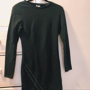 Black h and m dress with lace up detail